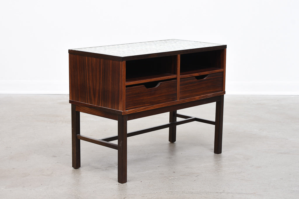Low rosewood storage unit by Haslev with ceramic tile inlay
