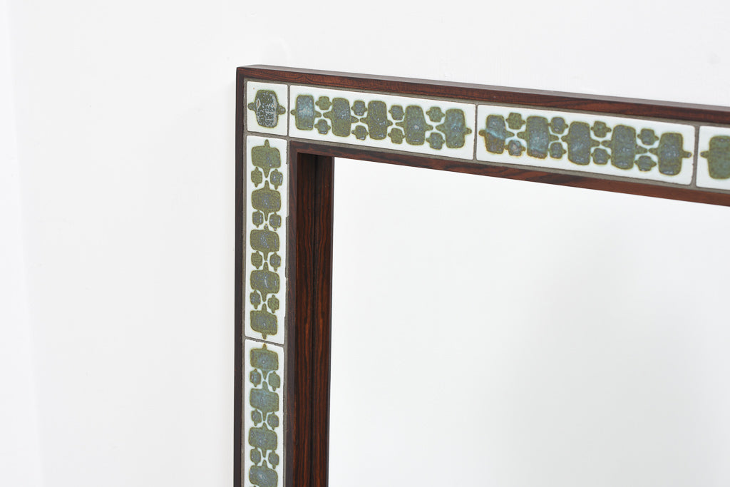 Rosewood mirror with ceramic tile inlay by Haslev