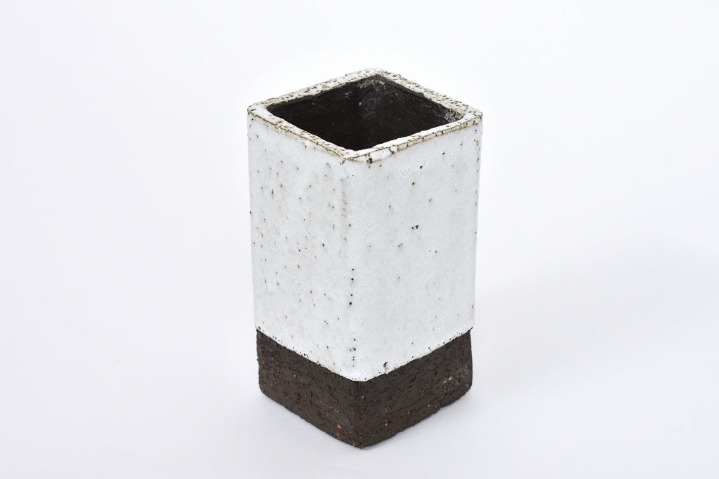 Square stoneware vase with white glaze