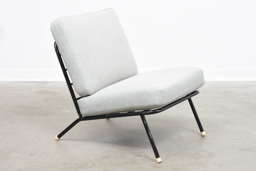 1960s metal lounge chair with new wool covers
