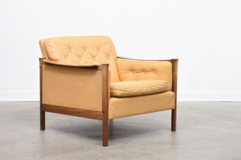 1960s leather + rosewood lounger by Torbjørn Afdal