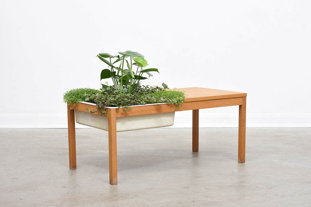 1970s oak table with planter