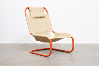 1980s canvas and tubular steel lounge chair