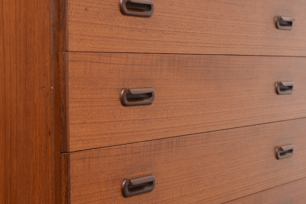 Teak chest of drawers with inset handles