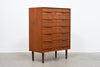 Teak chest of drawers with sculpted handles