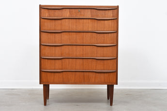 Danish chest of six drawers in teak