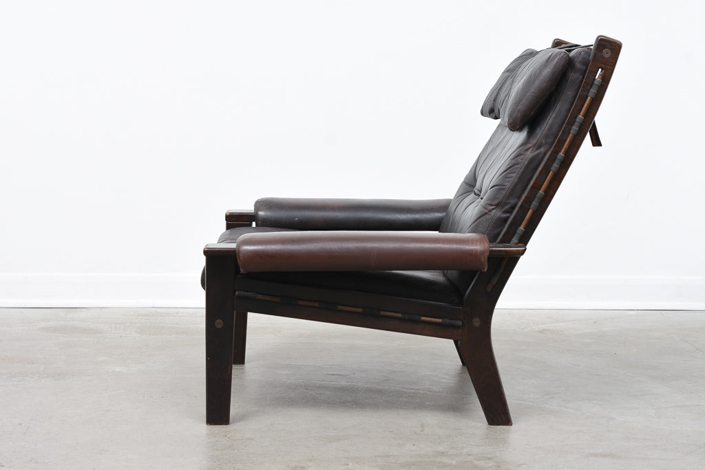 Two available: High back 'Amigos' leather loungers by Ekornes