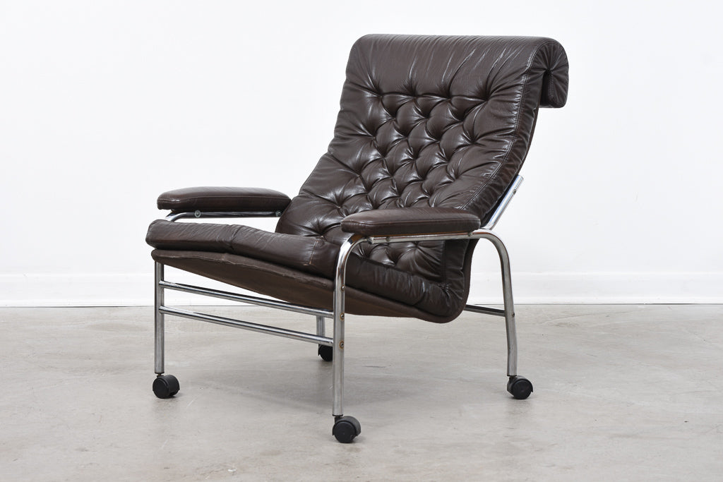 1970s 'Bore' leather lounger by Noboru Nakamura