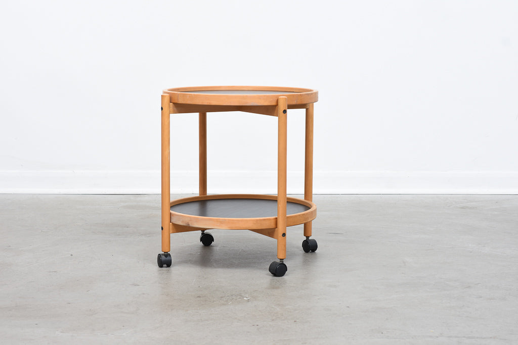 1970s beech and laminate trolley table