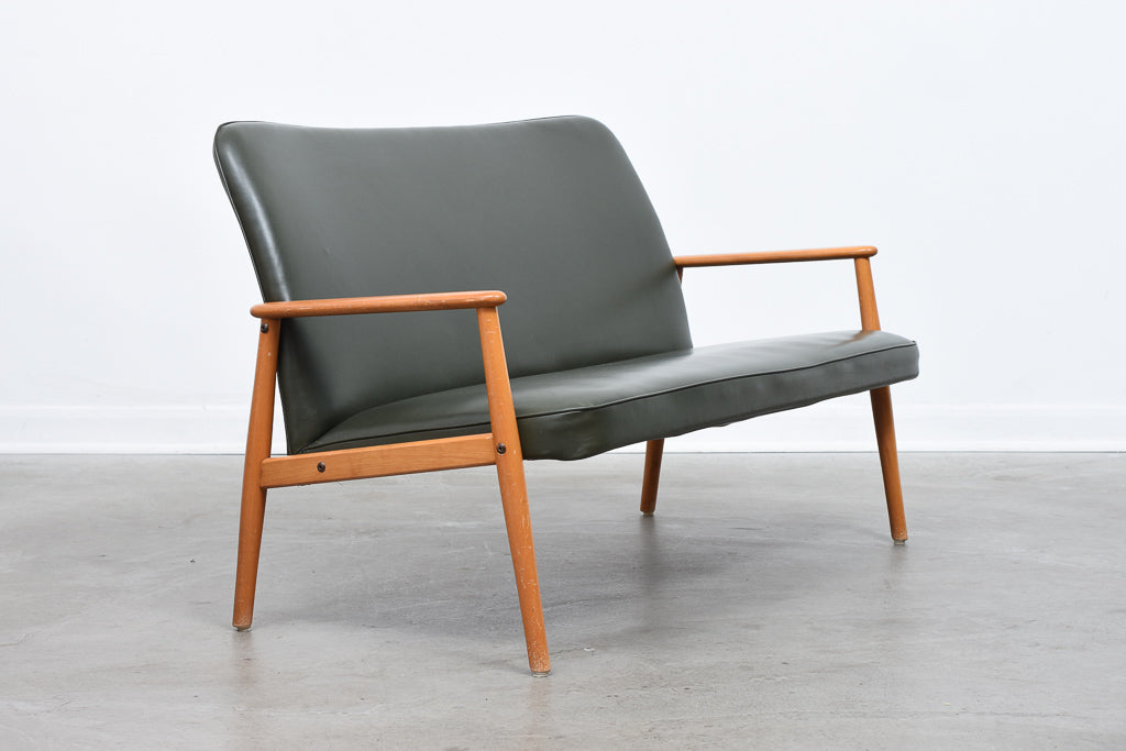 1950s Swedish two seater in beech + vinyl