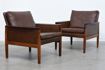 Two available: Rosewood + leather loungers by Hans Olsen