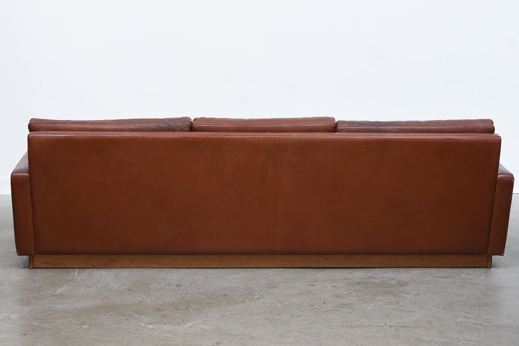 1970s Danish leather three seater