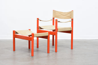 Beech + canvas safari chair with foot stool