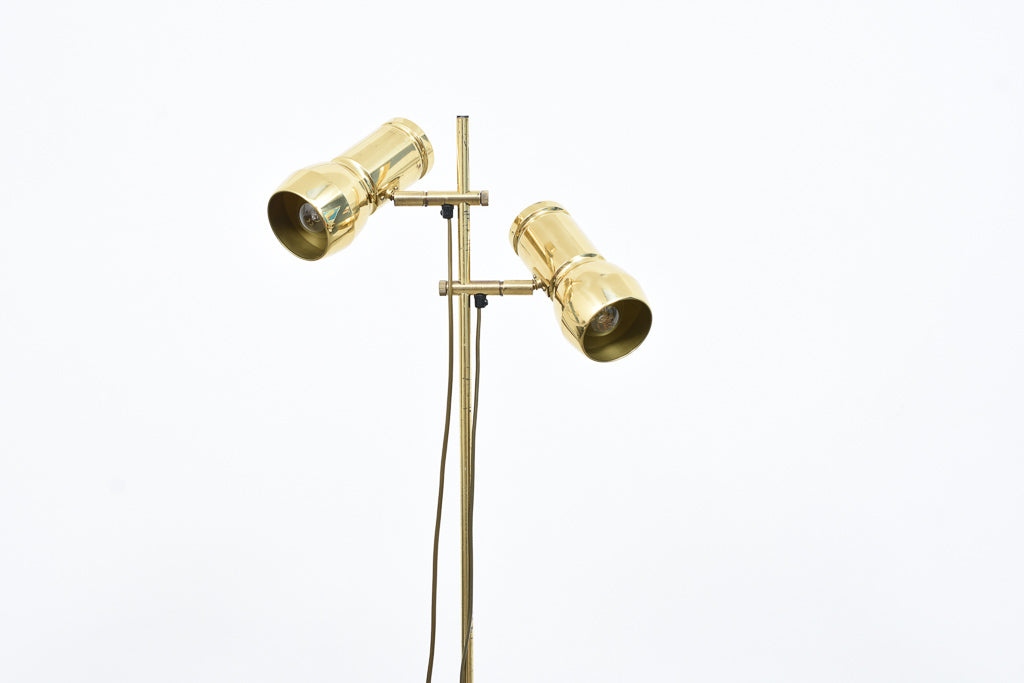 Vintage twin-headed brass floor lamp