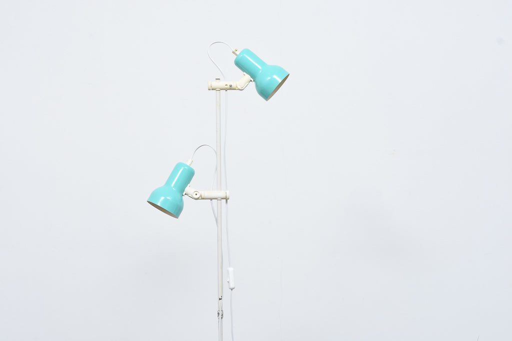 Twin-headed Danish floor lamp with turquoise shades