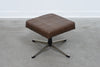 Vintage leather foot stool on metal base no. 2
