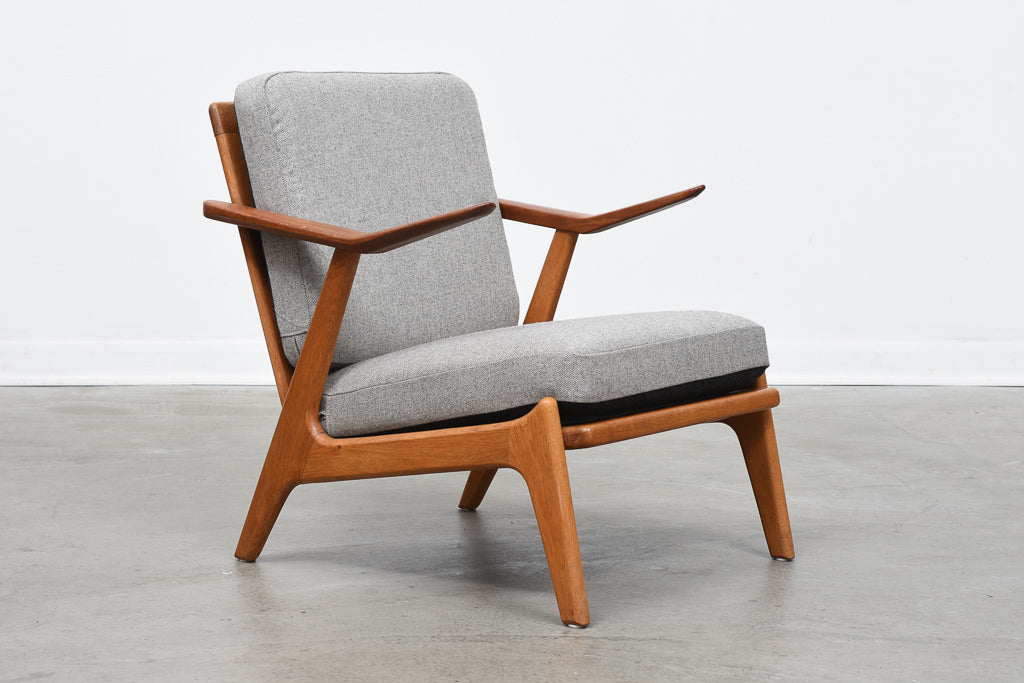 Teak + oak lounger by H. Brockmann Petersen with reversible cushions