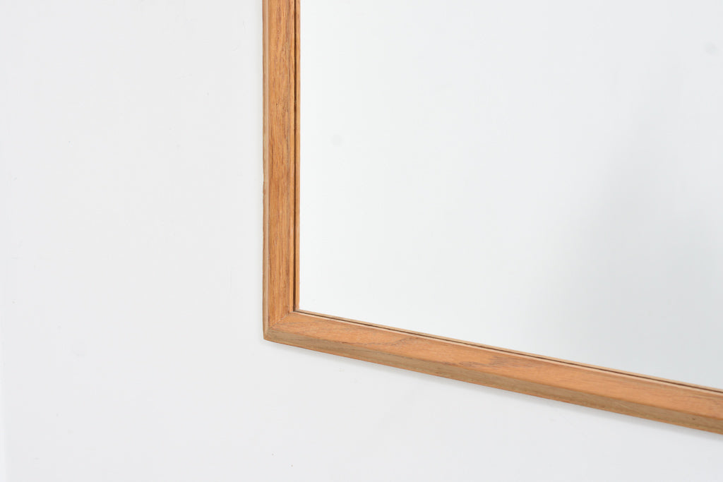 Vintage full length mirror with oak frame