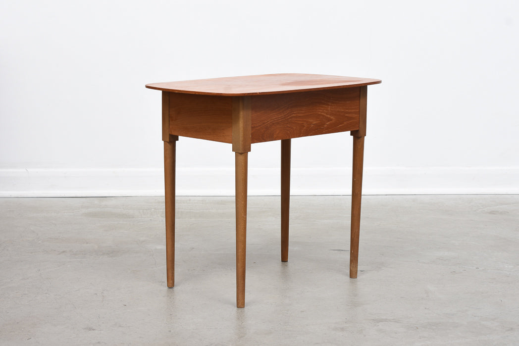 1950s teak + beech side table