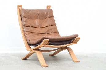 1970s oak + leather lounge chair
