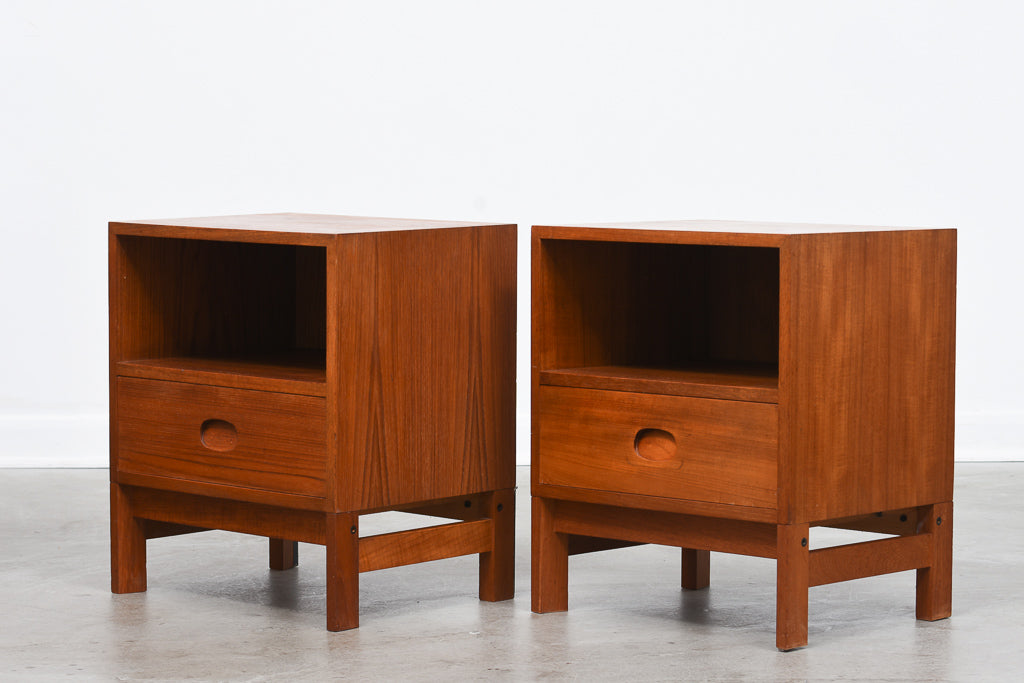 Pair of teak bedside tables by Vitzé
