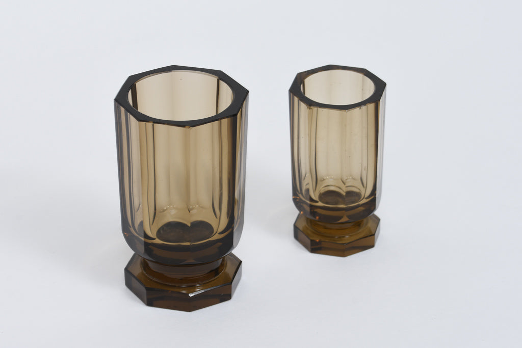 Pair of glass bud vases by Edward Hald