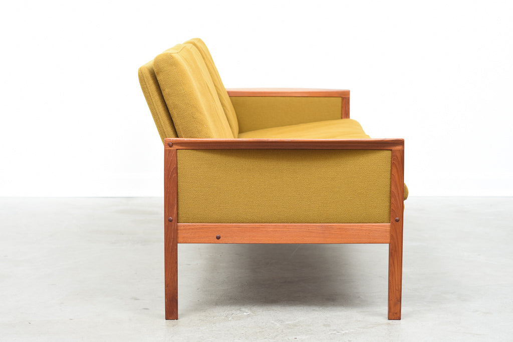 1960s teak-framed three seat sofa