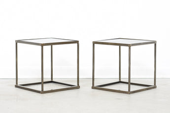 Pair of welded steel stacking tables