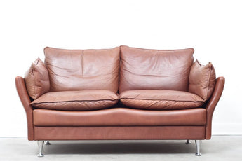 1970s leather two seat sofa
