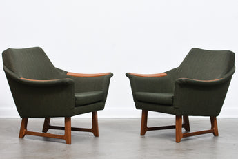 Two available: Pair of low back Danish loungers with teak arms