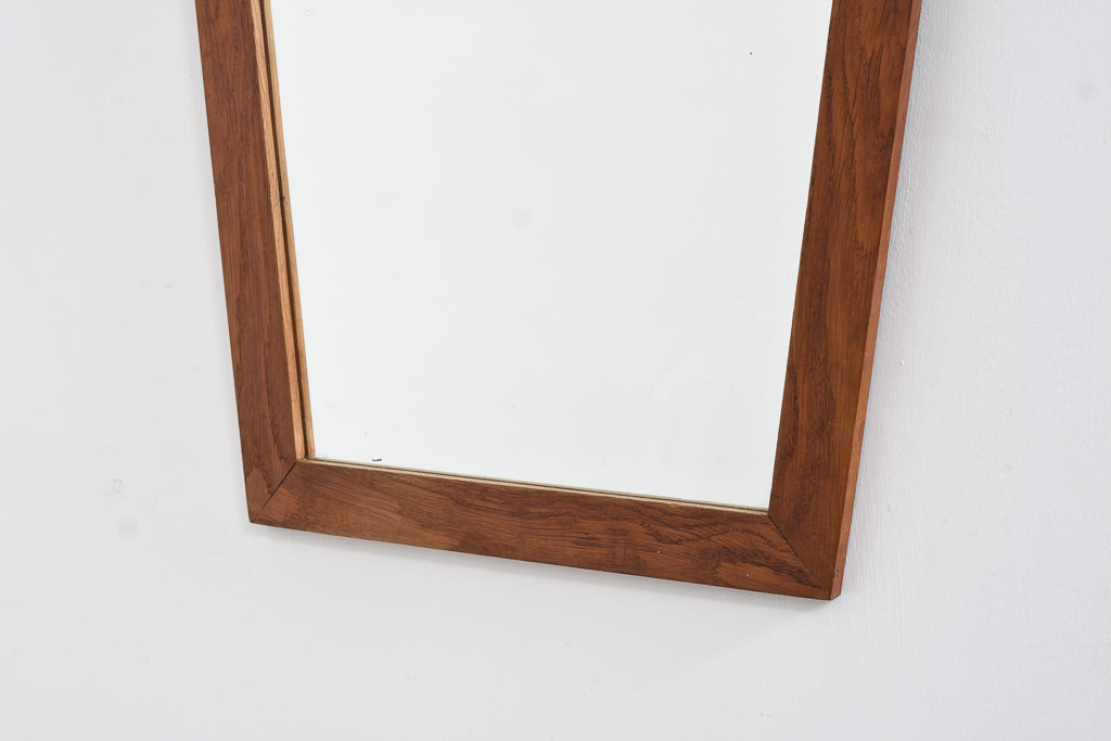 1970s oiled oak mirror