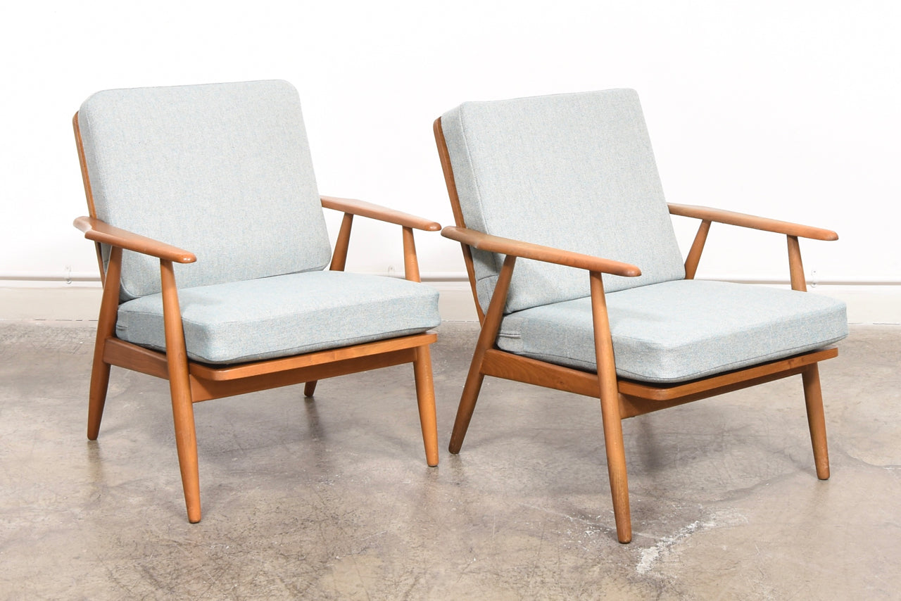 PrebenAugust17 Two available: 1960s beech loungers with new wool covers