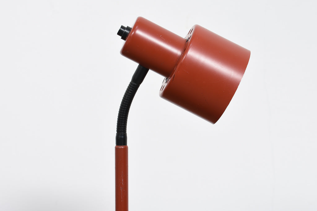 1960s red enamel table lamp