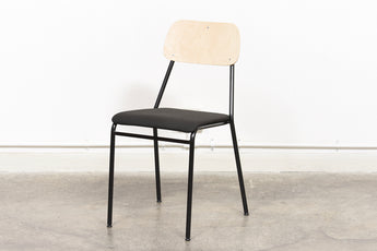 Stacking chairs by Skafab Stålmöbler with padded seat