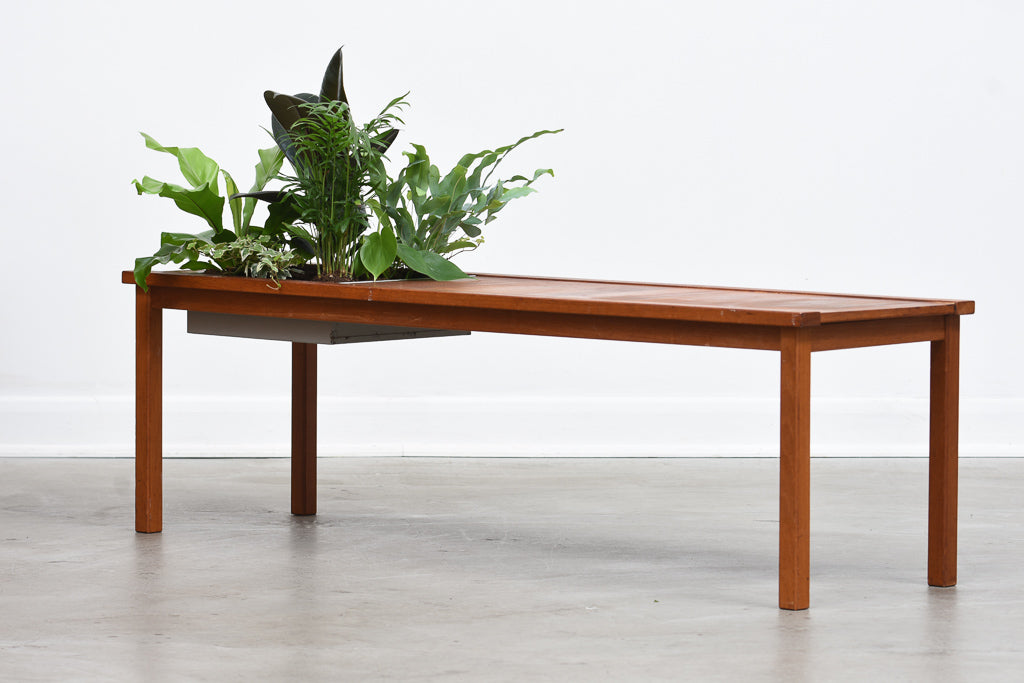 1970s teak coffee table with planter