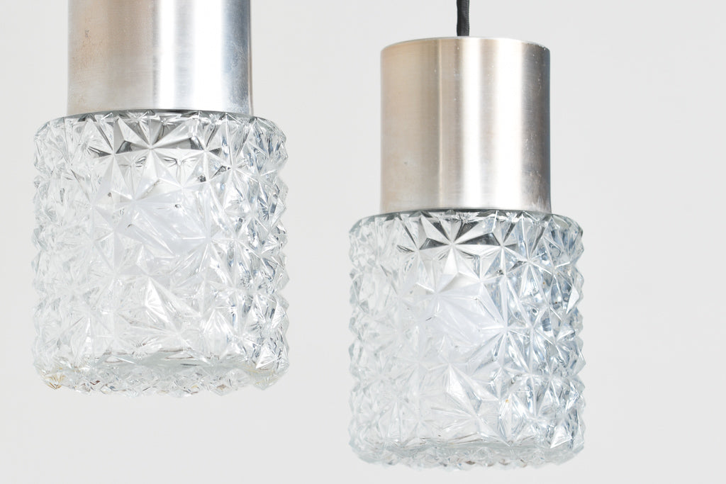 Two available: Vintage etched glass + brushed metal ceiling lamps