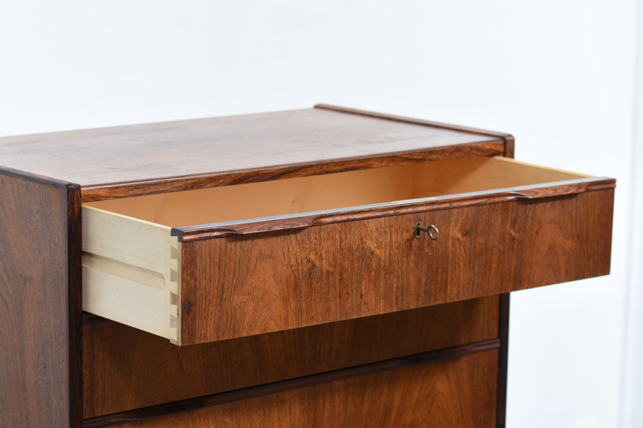 PrebenSeptember17 Chest of six drawers in rosewood with lipped handles