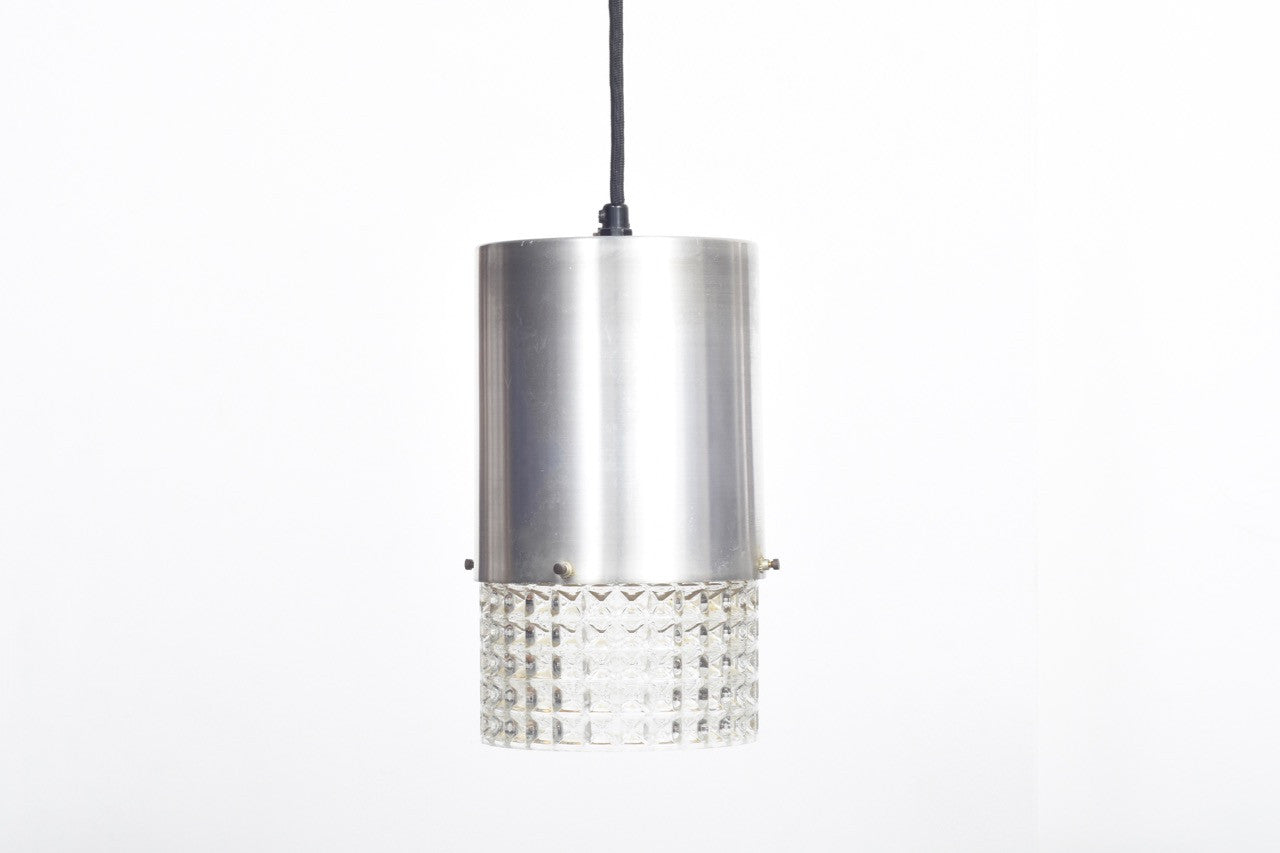 Cylindrical shade in glass + brushed steel