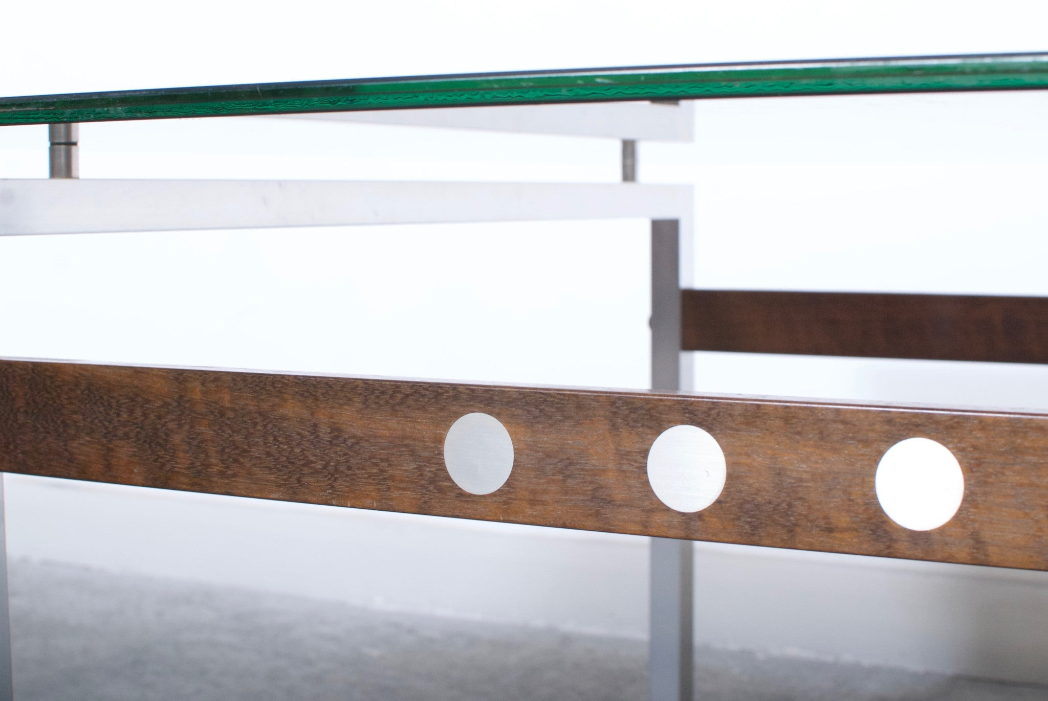 Glass and rosewood coffee table