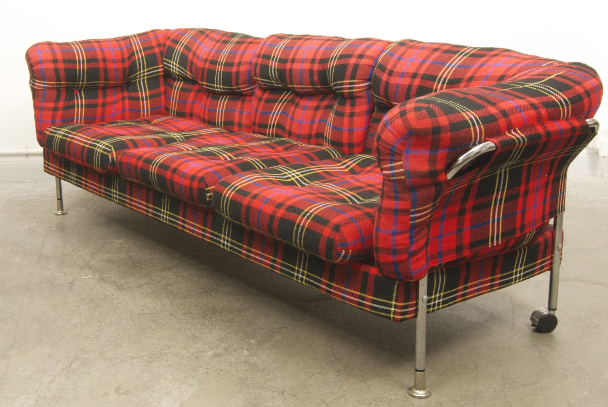 Summer sale: Chrome and plaid three seater