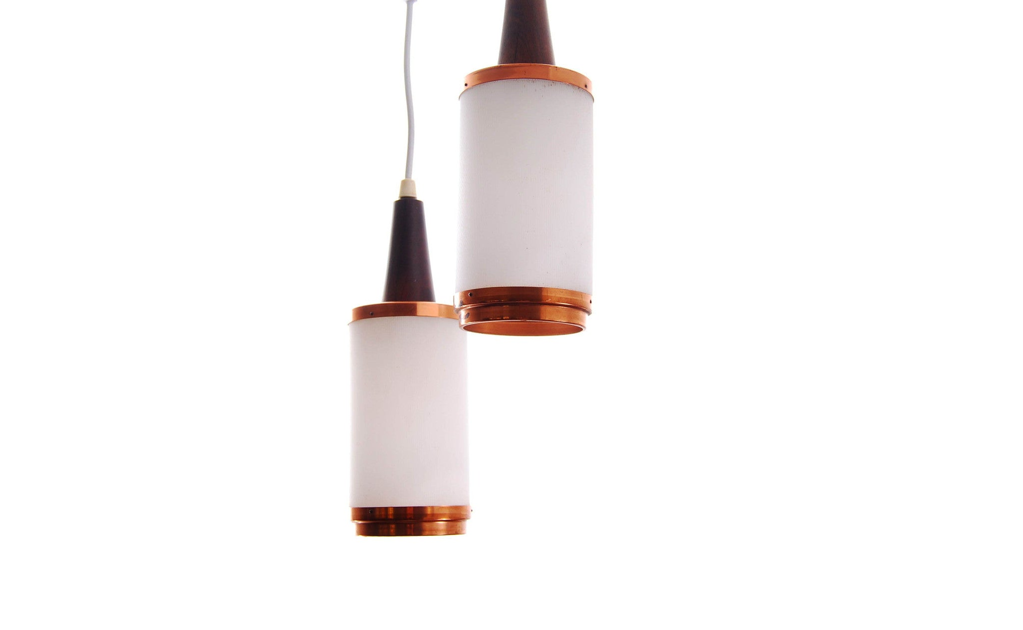 Pair of teak & plastic ceiling lamps