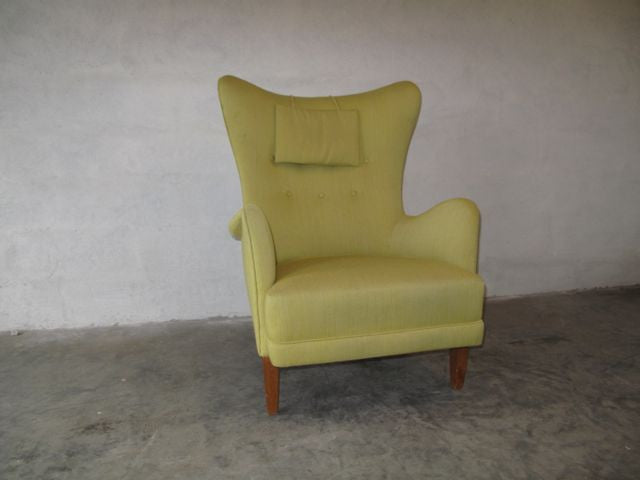 Wingback lounge chair in lime