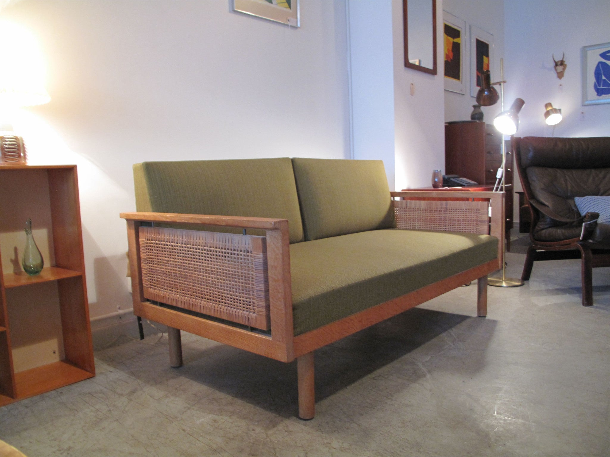 Sofabed with rattan sides