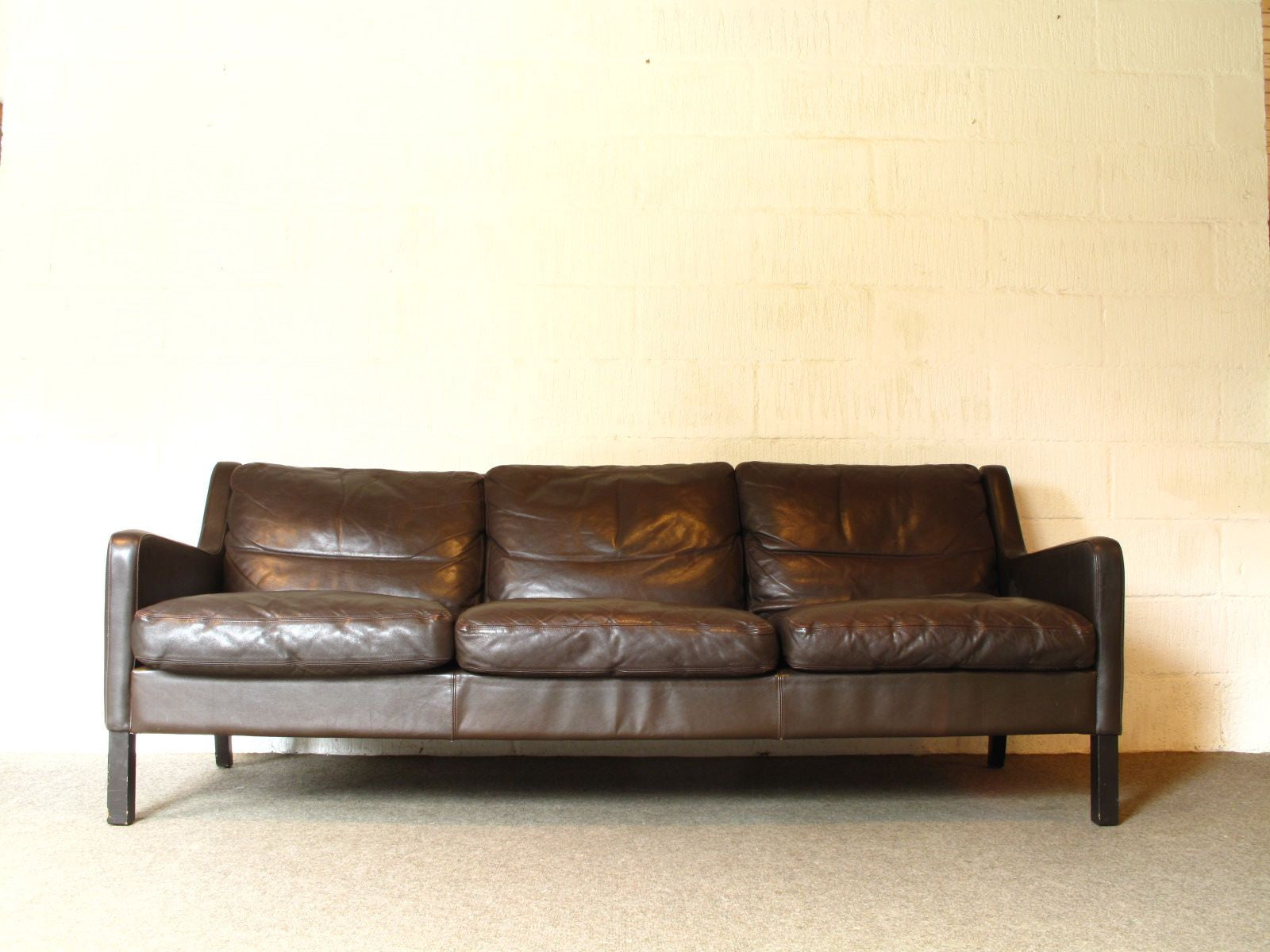 Three seat leather sofa by G. Thams