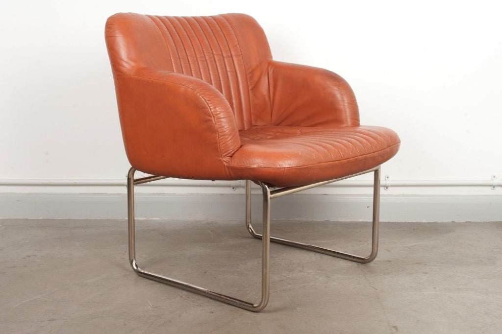 Tan leather and chrome occasional chair