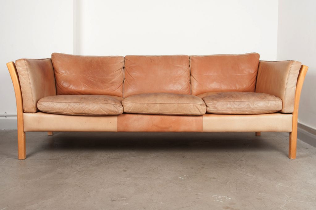 Tan leather three seater by Stouby
