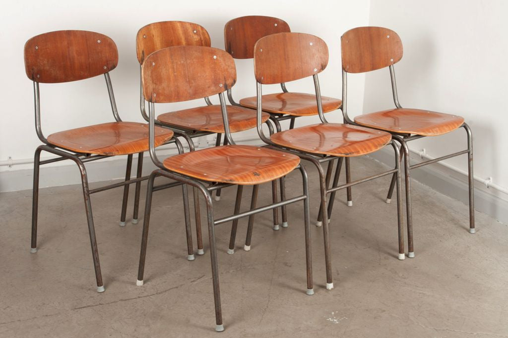 Set of six stacking chairs