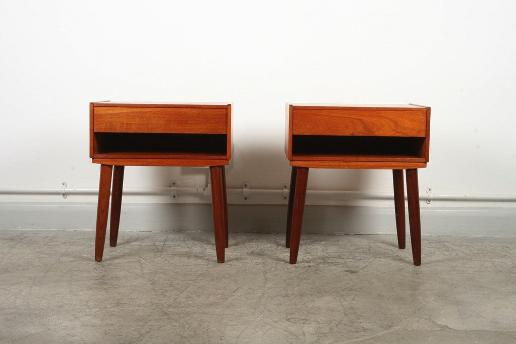 Pair of teak bedside tables