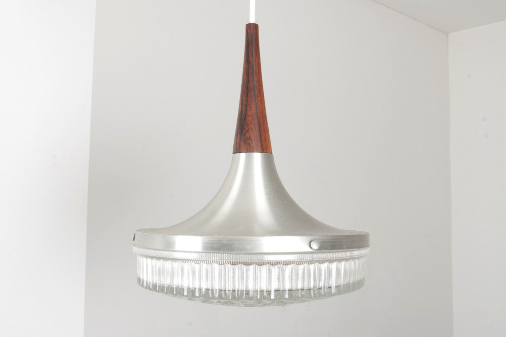 Rosewood, chrome and glass ceiling lamp