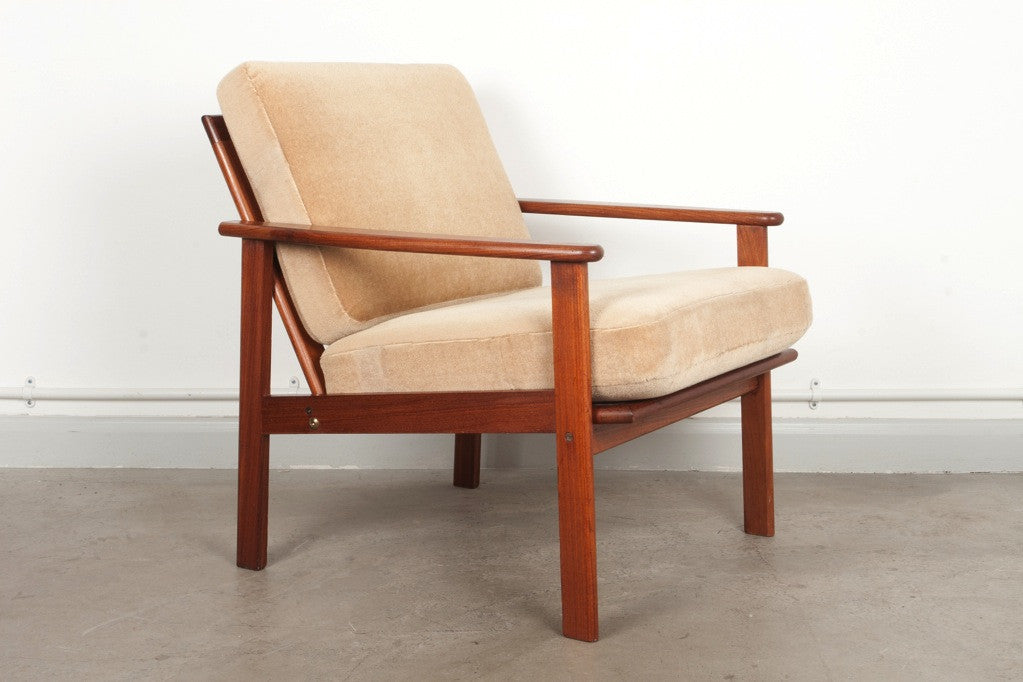 Teak lounger with sprung cushions